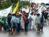 Bolivie : marche d'Indiens contre une route dans un parc naturel
