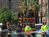 Fireman rescue Japanese Tourists Stuck Up Spanish Monumnent