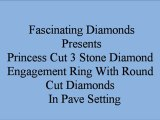 Princess Cut 3 Stone Diamond Engagement Ring With Round Cut Diamonds In Pave Settings FDENS1218PRR