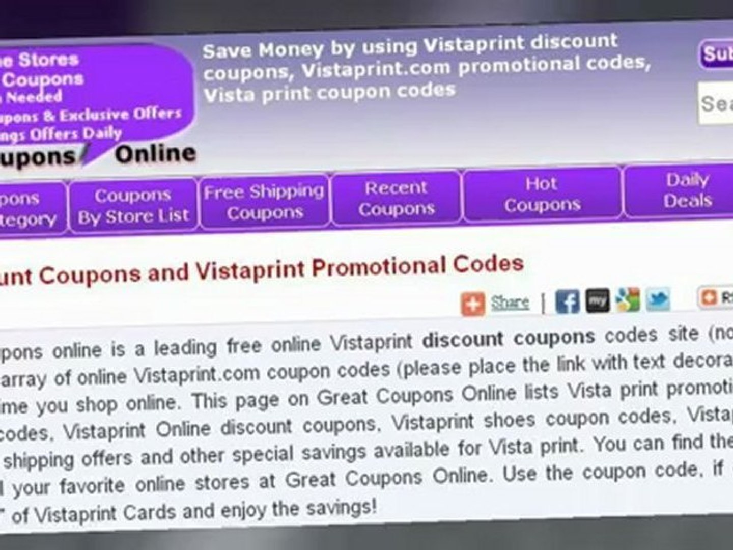 Vistaprint discount coupons - video dailymotion