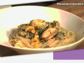 Repas Divin N°4 : Coques et moules à la mangue et lait de coco sur un lit de spaghetti