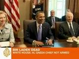 White House confirms Al Qaeda chief not armed