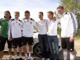 Schumacher, Rosberg and the German National Football Team   Footage