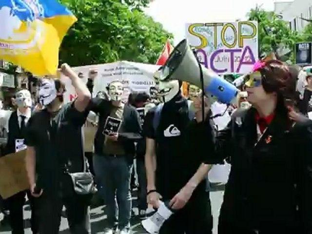 Anti- ACTA Internet Accords Law, Demonstration, Paris, France
