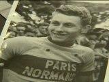 Rouen: exposition sur Jacques Anquetil place du Vieux Marché