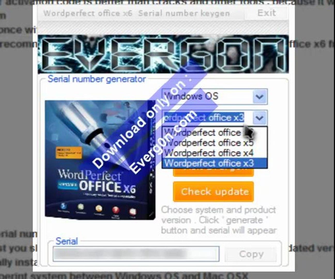 Corel Wordperfect Office x6 Serial number keygen by Everg0n