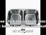 Best Buy Kraus KBU22 32-Inch Undermount 50-50 Double Bowl 16 gauge Kitchen Sink, Stainless Steel