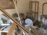Syria فري برس حمص القصور  تدمير منزل بالكامل من جراء قذيفة دبابة  ت72  24 6 2012 Homs