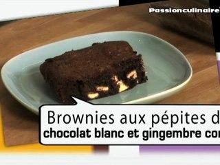 Repas Divin N°10 : Brownies aux pépites de chocolat blanc et gingembre confit