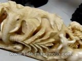 Mammoth Ivory Handcrafted Animal In Jungle Tusk Carving (37540)