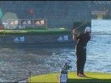Dustin Johnson and Sergio Garcia play golf on the Thames