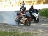 Course de côte de Villers-sous-chalamont 2012 - Descente de la 2ème montée de course des catégories Open, Motos anciennes et Educatives
