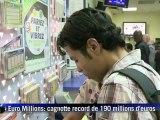 Cagnotte record d'Euro Millions de 190 millions d'euros en jeu