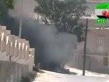 Syria فري برس إدلب   أريحا   تغجير دبابة تابعة للجيش الأسدي 9 8 2012