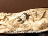 "Mammoth Ivory Handcrafted ""Chinese Old Man With Happy Kids"" Whole Tusk Carving 37491"