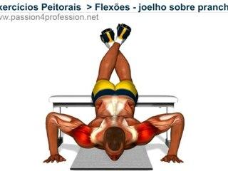 Flexões, joelho sobre prancha