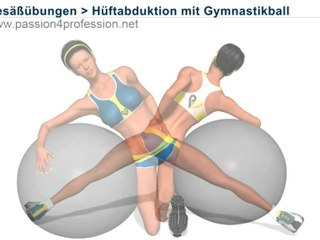 Übung für Gesäß, Hüftabduktion mit Gymnastikball