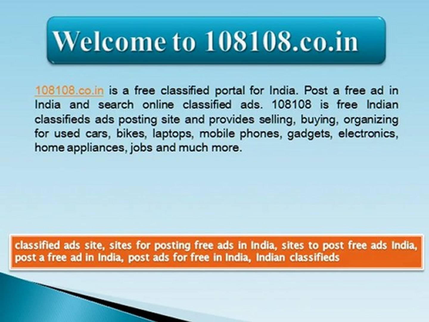 Sites for Posting free Ads in India - video dailymotion