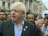 Boris Johnson speaks at Piccadilly Circus Circus