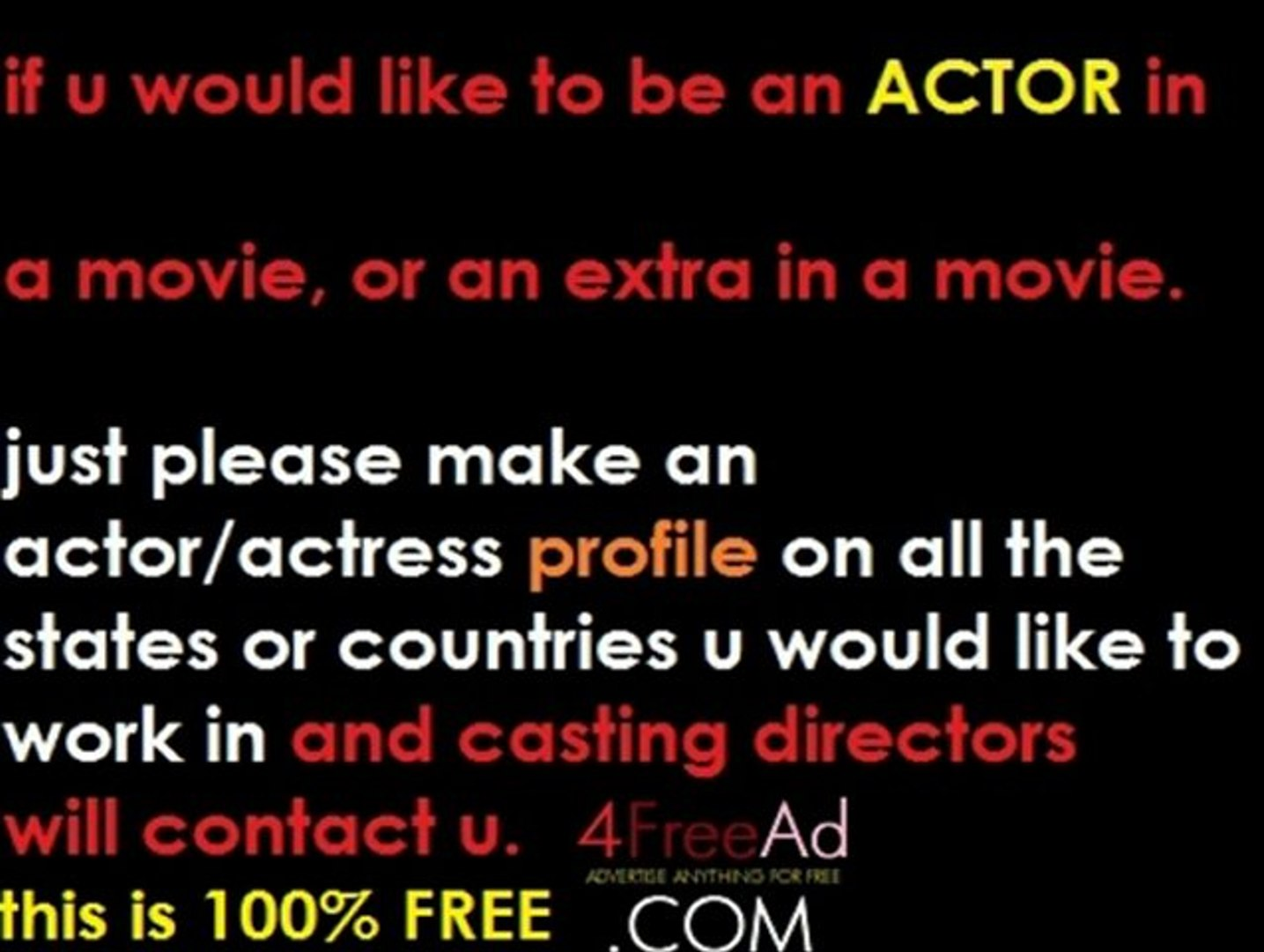 open casting calls in new york, casting directors in nyc, casting calls in LA, post free movie audit