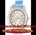 BETS PRICE Light Blue Silicone Rubber Gel Watch Link Look Ceramic Style Large Face with Crystal Bezel