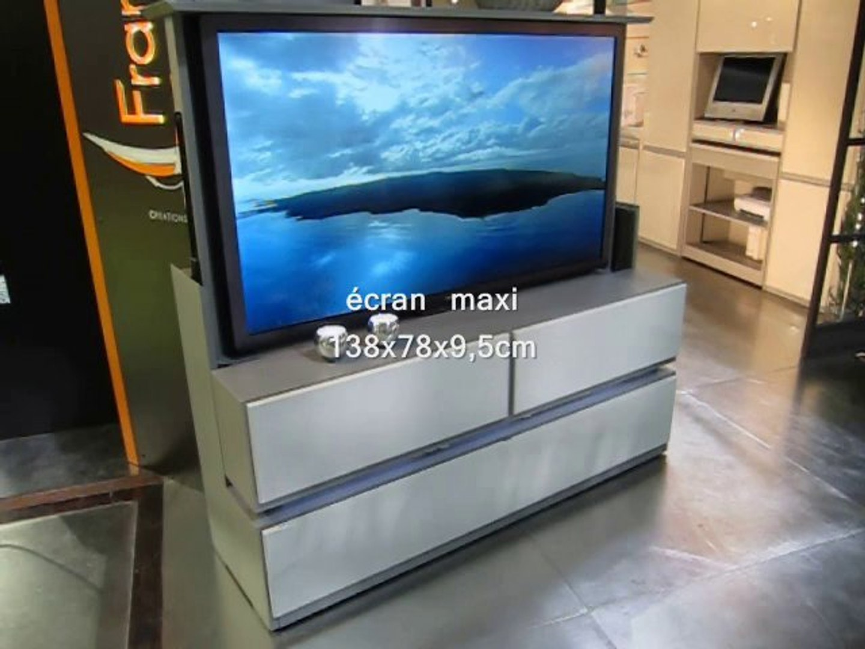 Tv Escamotable Lit françois desile - meuble tv écran plat coulissant télécommandé