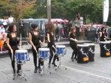Drumcat Street Performance - Amazing girls playing drums like hell!