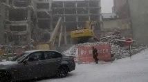 Bruxelles: la rue Montagne de l'Oratoire sous la neige