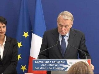 Extrait du discours du Premier ministre Jean-Marc Ayrault lors de l'installation de la Commission Nationale Consultative des Droits de l'Homme