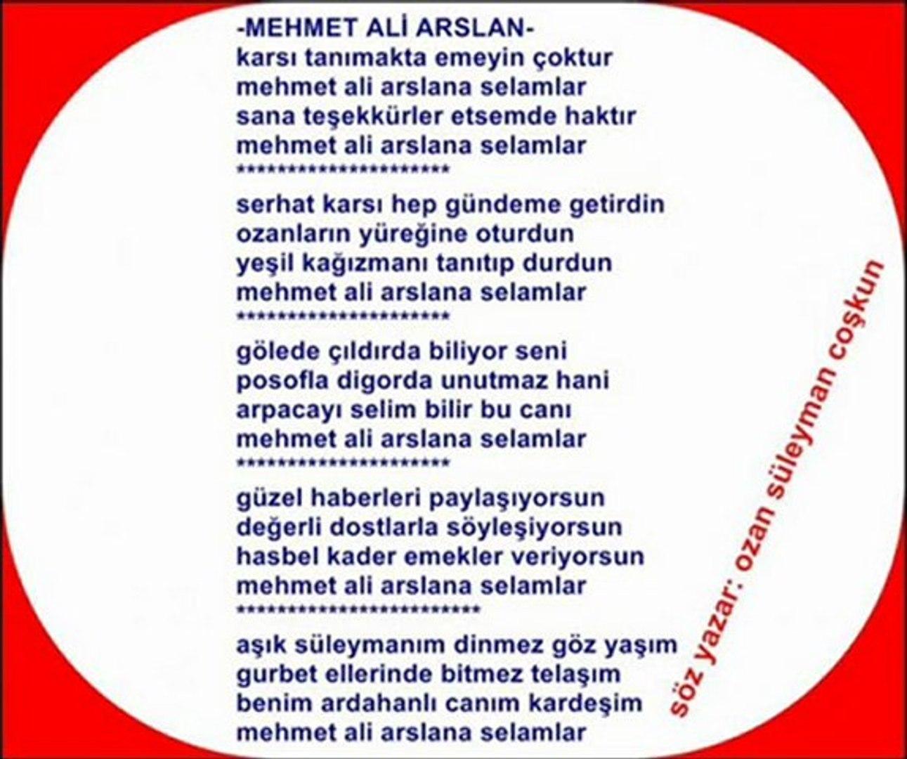 YAZAR ve OZAN : Ozan süleyman COŞKUN - MEHMET ALİ ARSLAN için Yazdı -  Dailymotion Video