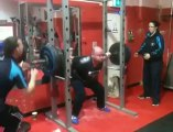 225kg raw squat, cit gym. 3-10-12. Age 42, body weight 112kg.