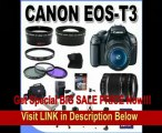 Canon EOS Rebel T3 12.2 MP CMOS Digital SLR with Canon 18-55mm IS II Lens and Canon 55-250 IS Lens (Black) +58mm 2x Telephoto lens + 58mm Wide Angle Lens (4 Lens Kit!!!) W/32GB SDHC Memory +2 Extra Batteries+AC/DC Charger +UV Filters+3 Piece Filter K