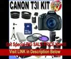 Canon EOS Rebel T3i 18 MP CMOS Digital SLR Camera and DIGIC 4 Imaging with EF-S 18-55mm f/3.5-5.6 IS Lens +58mm 2x Telephoto lens + 58mm Wide Angle Lens (3 Lens Kit!!!!!!) W/32GB SDHC Memory+ Extra Battery/Charger + 3 Piece Filter Kit + Full Size Tri