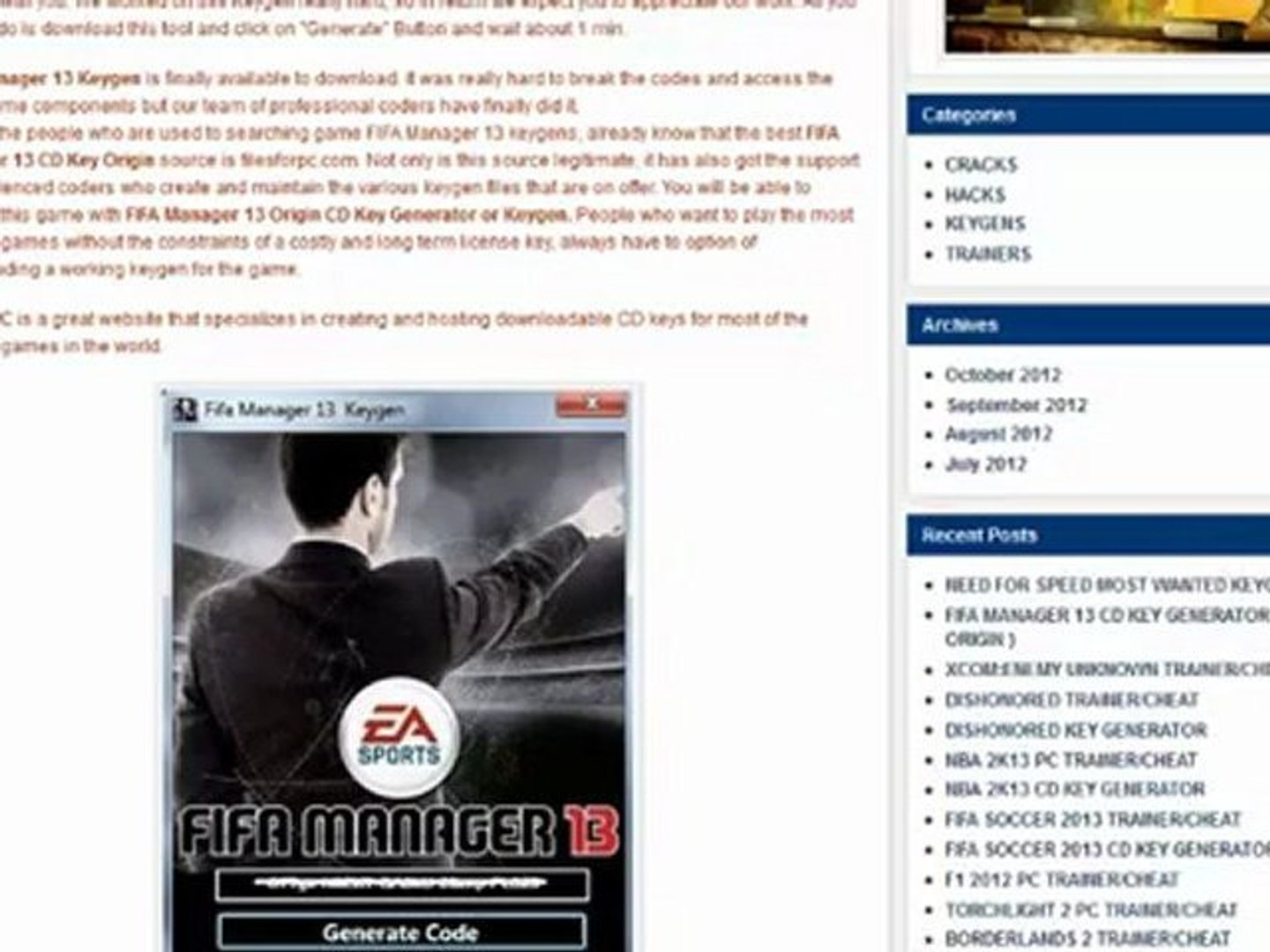 Fifa Manager 13 Installation Code