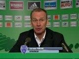 Conférence de presse AS Saint-Etienne - ESTAC Troyes : Christophe  GALTIER (ASSE) - Jean-Marc FURLAN (ESTAC) - saison 2012/2013