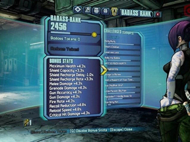 Borderlands 2 Tips n Tactics: Badass Ranks, Tokens, and Stat Bonuses