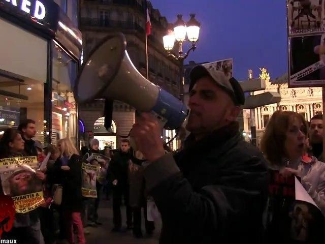 Rassemblement anti vivisection devant l'agence Air France d'Opéra (17.11.2012)