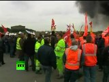 Video of France riots, burning tires as pension protesters clash with police