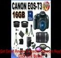 [BEST BUY] Canon EOS Rebel T3 12.2 MP CMOS Digital SLR with 18-55mm IS II Lens (Black) + Canon EF-S 55-250mm f/4.0-5.6 IS Telephoto Zoom Lens + 58mm 2x Telephoto lens + 58mm Wide Angle Lens (4 Lens Kit!!!) W/16G