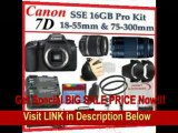 [BEST PRICE] Canon EOS 7D SLR Digital Camera with Canon EF-S 18-55mm f/3.5-5.6 IS Autofocus Lens and Canon Zoom Telephoto EF 75-300mm f/4.0-5.6 III Autofocus Lens + SSE Large 16GB Accessory Package Kit