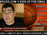 LA Clippers versus Oklahoma City Thunder Pick Prediction NBA Pro Basketball Betting Odds Preview 11-21-2012