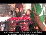 Sara Flounders, Cynthia McKinney and Dr. Fowzia Siddiqui going through the Free Aafia Rally.