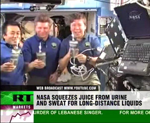 Cosmonauts drinking urine
