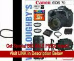 Canon EOS 7D 18 MP CMOS Digital SLR with Canon 18-135mm IS Lens + Canon EF 70-300mm f/4-5.6 IS USM Lens + Canon LPE6 Spare Battery + Canon Deluxe SLR Gadget Bag + Multi-Coated UV Essential Filter x2 + Sunpak PRO 523PX Pistol Grip Tripod + Transcend 32GB 1