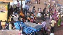 offering poojas on the eve of karteeka poornima at godavari bank of bhadrachalam temple town.