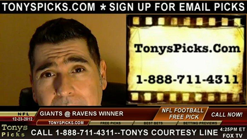 New York Giants versus Baltimore Ravens NFL Pro Football Pick 12-23-2012