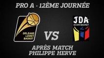 Réactions de Philippe Hervé - J12 - Réception de la JDA Dijon