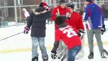 Josh Gorges plays pick-up hockey game