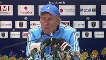 Conférence de presse FC Sochaux-Montbéliard - Olympique de Marseille : Eric HELY (FCSM) - Elie BAUP (OM) - saison 2012/2013