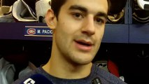 Canadiens Max Pacioretty talks to reporters after first day of training camp January 13, 2013